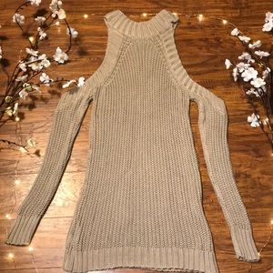 Shoulderless Mini Sweater Dress